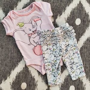 Disney Dumbo 0-3 Months Pink Matching Outfit